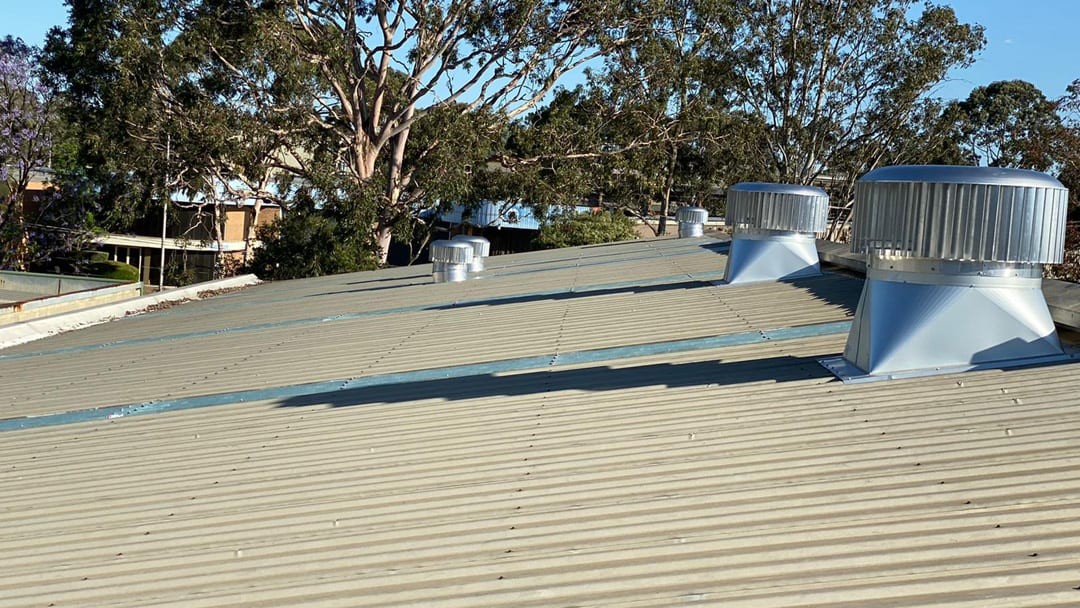 Finished Installation of Rotary Roof Vents and Fibreglass skylight Panels Sydney