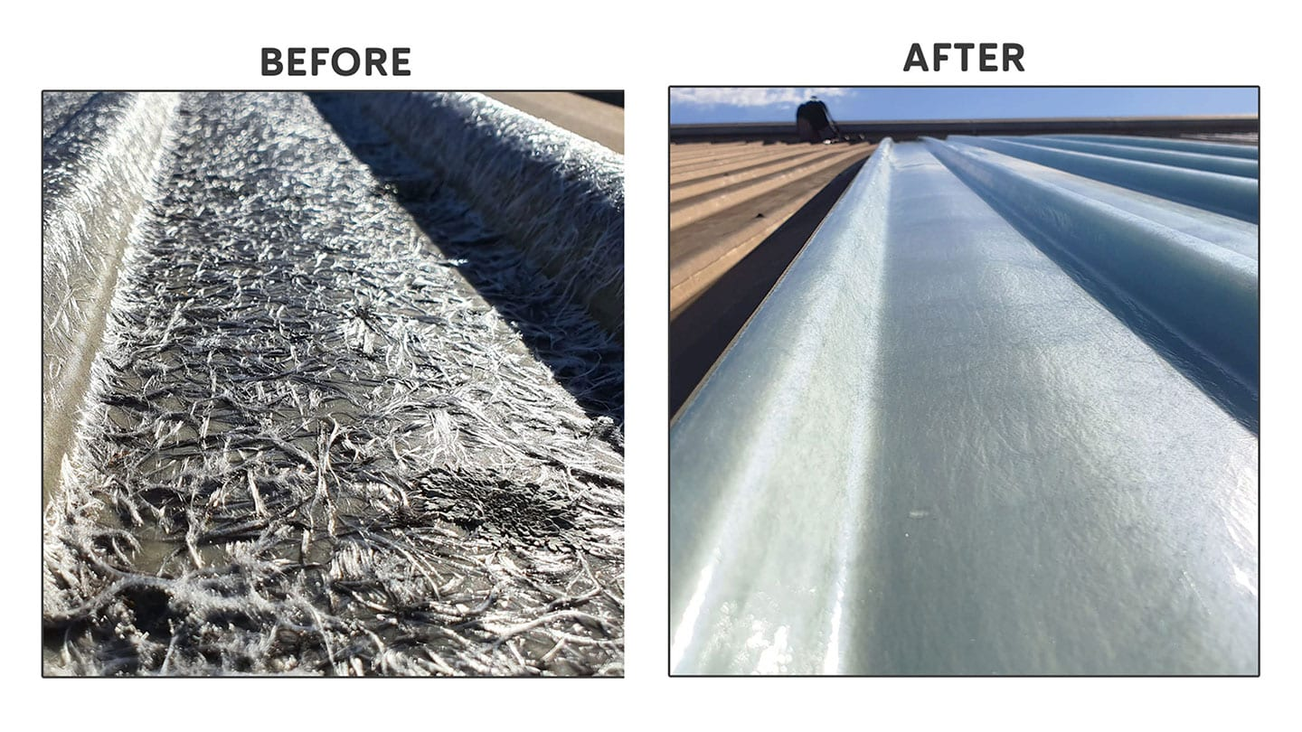 before and after firbreglass roof panel replacement